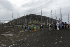 Large group of travelers walking in Dead Forest Dead Wood on Kamchatka Peninsula. TOLBACHIK VOLCANO, KAMCHATKA PENINSULA, RUSSIA - SEP 17, 2013: Group of royalty free stock photography