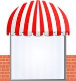 Toldo del escaparate en rojo Fotos de archivo libres de regalías