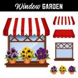 Toldo do jardim, dos Pansies, o vermelho e o branco da janela ilustração do vetor