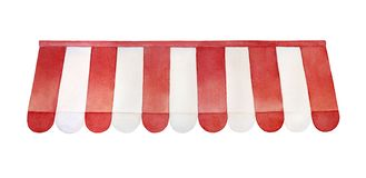 Toldo vermelho e branco da listra para a loja, caf?, restaurante da rua, mercado ilustração do vetor