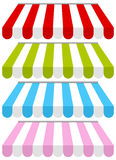 Toldos coloridos da loja ajustados Imagem de Stock Royalty Free