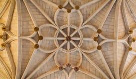 Toledo - готический потолок Сан-Хуан de los Reyes или монастырь St. John королей Стоковое Фото