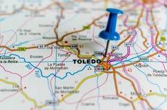Toledo на карте стоковые изображения