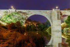Toledo. Alcantara Bridge at night. Royalty Free Stock Photography