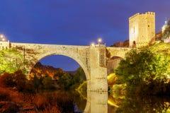 Toledo. Alcantara Bridge at night. Stock Images