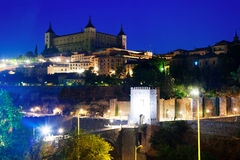 Toledo with Alcazar in night. Spain Royalty Free Stock Images