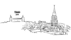 Toledo Ancient Skyline Panorama Sketch Royalty Free Stock Photo
