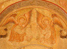 Toledo - Angels fresco in church San Roman. Stock Photography
