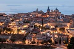 Toledo bij schemer, Spanje royalty-vrije stock fotografie