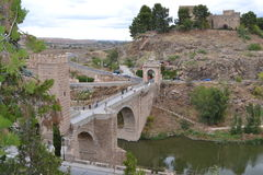 Toledo bridge over Flowing River Royalty Free Stock Photo