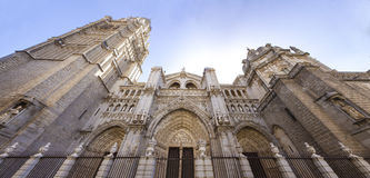 Toledo Cathedral low angle panoramic view, Spain Stock Photo