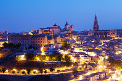 Toledo with Cathedral in night.  Spain Stock Photo