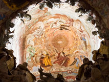 Toledo Cathedral Interior, Spain. Baroque artwork on the inside of the cathedral dome, seen through the El Transparente skylight. Toledo, Castile-La Mancha Stock Photo