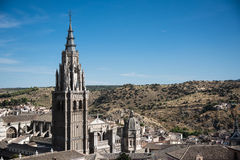 Toledo Cathedral Tower and landscape Stock Images