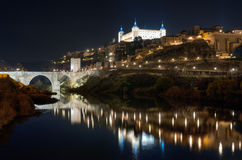 Toledo cityscape at night Toledo, Spain. Stock Image