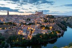 Toledo an der Dämmerung Spanien Stockbilder