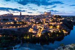 Toledo an der Dämmerung Spanien Stockbild