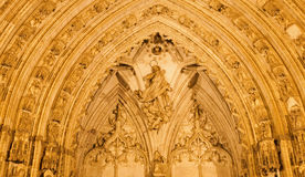 Toledo -  Detail of nightly south gothic portal of Cathedral Primada Santa Maria de Toledo. Stock Photography