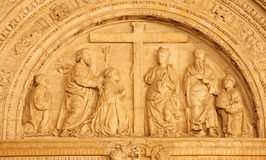 Toledo - Detail of renaissance portal of Hospital Santa Cruz from years 1504 y 1514 Royalty Free Stock Photo