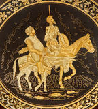 Toledo - Detail of typical damascening plate with the Don Quixote and Sancho Panza. Royalty Free Stock Photo