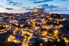 Toledo at dusk Spain. Toledo Cityscape with Alcazar at dusk in Madrid Spain Stock Photos