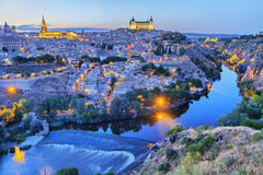 Toledo in the evening with picturesque bend of river Royalty Free Stock Images