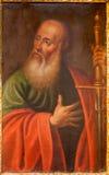 Toledo - farba Saint Paul apostoł od kościelnego Iglesia De San Idefonso Obraz Royalty Free