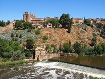 Toledo flod Targus arkivfoton
