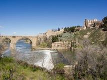 Toledo with Franciscan monastery San Juan des los Reyes and river Tajo, Spain Stock Image