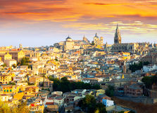 Toledo from hill in sunny morning Stock Photos