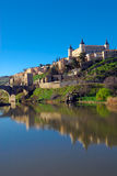 Toledo II. View of the city of Toledo, Spain, and the Tajo river Stock Image