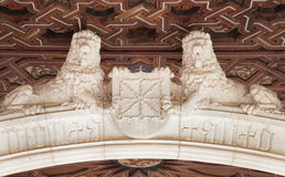 Toledo - Lions stetues atrium of Monasterio San Juan de los Reyes Royalty Free Stock Photos