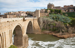 Toledo - Look to San Martin s bride or Puente de s Royalty Free Stock Photo