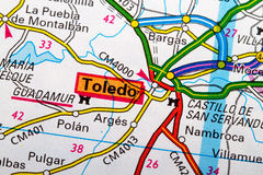 Toledo map. The City of Toledo in detail on the map Stock Images