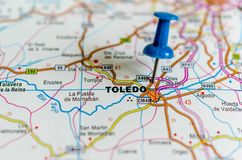 Toledo on map stock images