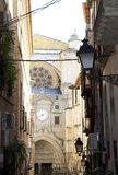 Toledo  narrow street overlooking the Cathedral. Historical Spain. Royalty Free Stock Image