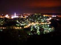 Toledo nights. Long exposure shot of Toledo, in Spain. The cathedral and Alcazar can be seen Royalty Free Stock Photo