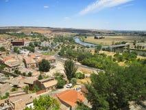 Toledo och Tagus River, Spanien. Arkivbilder