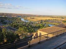 Toledo och Tagus River, Spanien. Arkivfoto