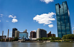 Toledo, OH Skyline. From a Boat on the Maumee River Stock Photo
