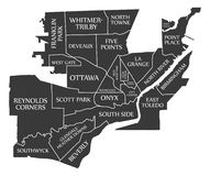 Toledo Ohio city map USA labelled black illustration stock illustration
