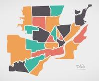 Toledo Ohio Map with neighborhoods and modern round shapes royalty free illustration