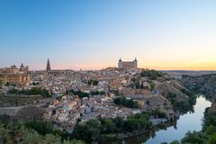 Toledo old town in sunrise time, Spain. Royalty Free Stock Photos