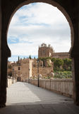 Toledo - Outlook form San Martin s bride or Puente de san Martin to Monastery of saint John of the King Royalty Free Stock Photos
