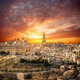 Toledo over sunset. medieval town Royalty Free Stock Images