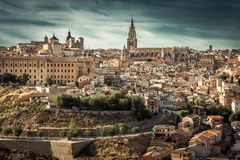 Toledo over sunset Stock Images