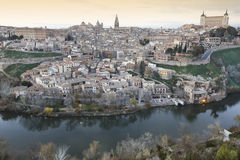 Toledo panoramic view at sunset with Tajo river in Spain Stock Images