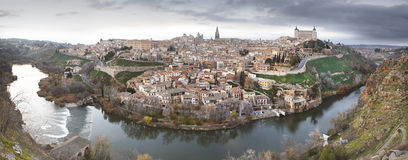Toledo panoramic view at sunset with Tajo river in Spain Royalty Free Stock Photography