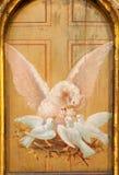 Toledo - pellicano come simbolo di Jesus Christ in altare laterale dalla chiesa Iglesia de san Idefonso Fotografie Stock Libere da Diritti