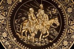 Toledo - platta med Don Quixote och Sancho Panza. arkivfoton